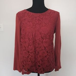 Ann Taylor Factory Top Lace Front Long Sleeves